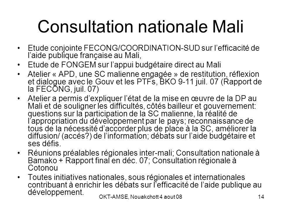 OKT-AMSE, Nouakchott 4 aout 0814 Consultation nationale Mali Etude conjointe FECONG/COORDINATION-SUD sur lefficacité de laide publique française au Mali, Etude de FONGEM sur lappui budgétaire direct au Mali Atelier « APD, une SC malienne engagée » de restitution, réflexion et dialogue avec le Gouv et les PTFs, BKO 9-11 juil.
