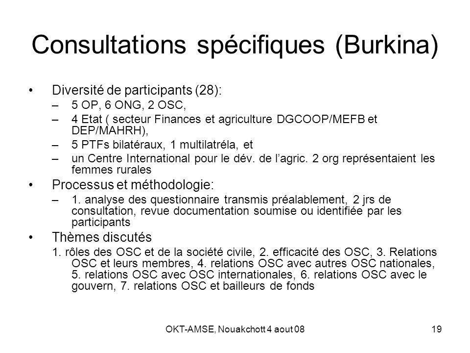 OKT-AMSE, Nouakchott 4 aout 0819 Consultations spécifiques (Burkina) Diversité de participants (28): –5 OP, 6 ONG, 2 OSC, –4 Etat ( secteur Finances et agriculture DGCOOP/MEFB et DEP/MAHRH), –5 PTFs bilatéraux, 1 multilatréla, et –un Centre International pour le dév.