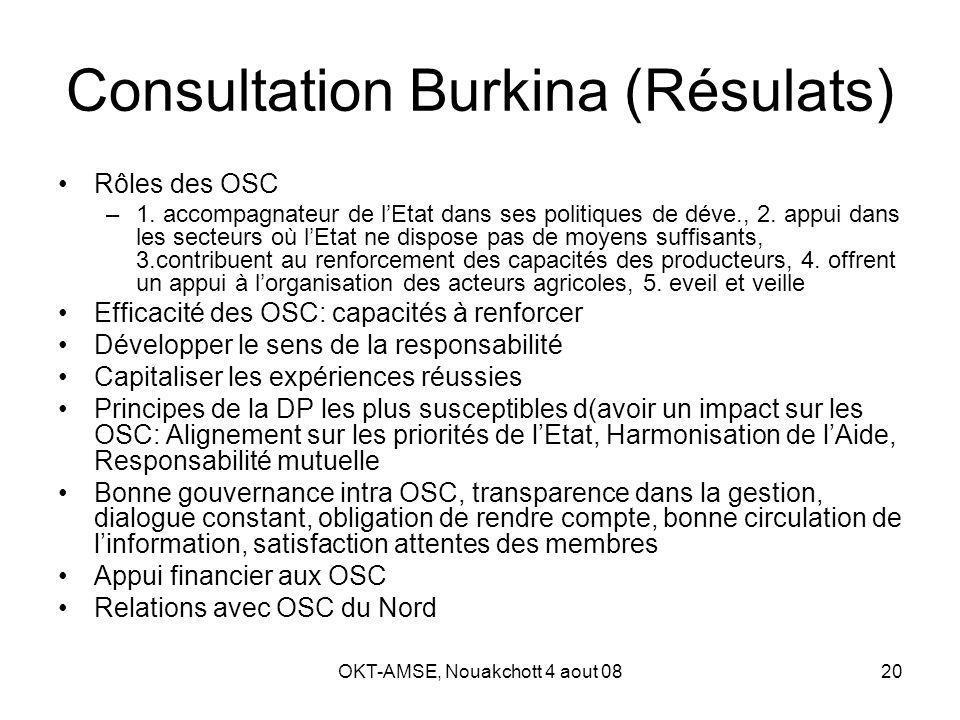 OKT-AMSE, Nouakchott 4 aout 0820 Consultation Burkina (Résulats) Rôles des OSC –1.