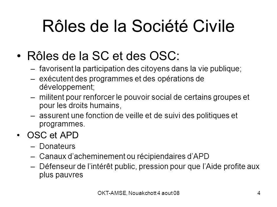 OKT-AMSE, Nouakchott 4 aout 085 OSC, gestion de laide et DP La SC est acteur clef de développement + élément de larchitecture internationale de lAPD DP «presque» muette sur le rôle des OSC (ref.