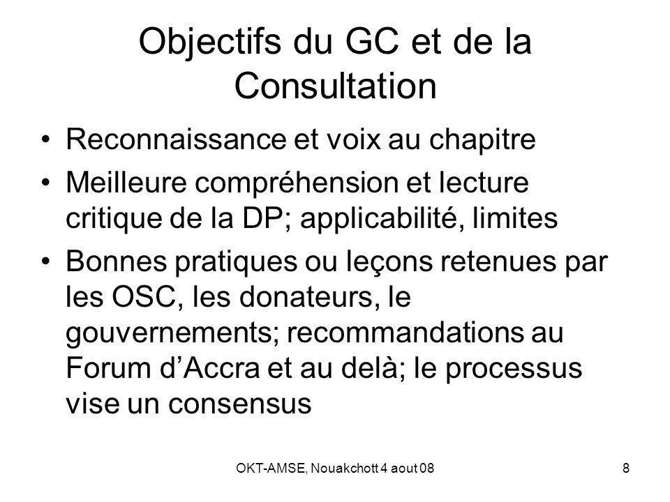 OKT-AMSE, Nouakchott 4 aout 088 Objectifs du GC et de la Consultation Reconnaissance et voix au chapitre Meilleure compréhension et lecture critique de la DP; applicabilité, limites Bonnes pratiques ou leçons retenues par les OSC, les donateurs, le gouvernements; recommandations au Forum dAccra et au delà; le processus vise un consensus
