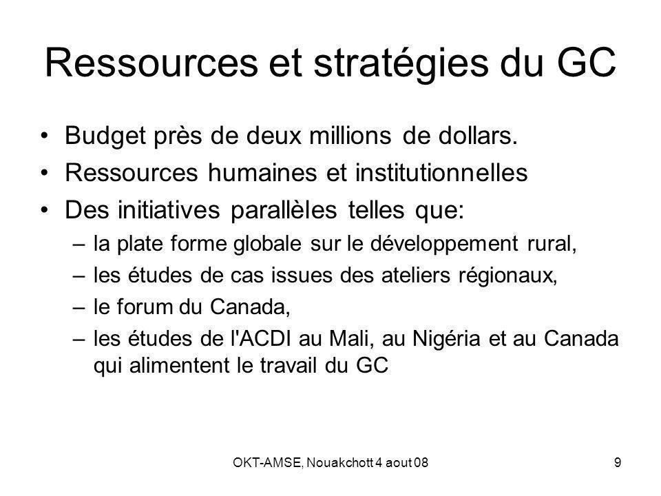 OKT-AMSE, Nouakchott 4 aout 089 Ressources et stratégies du GC Budget près de deux millions de dollars.