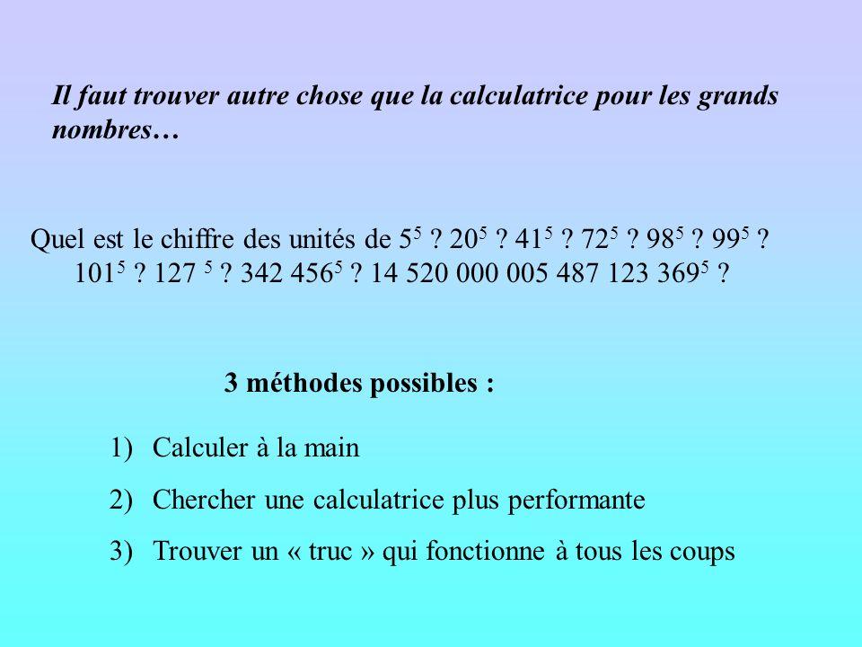Lapparition des difficultés Mais au fait, pourquoi la calculatrice ne veut pas écrire la réponse ? 100 5 =100 100 100 100 100 =10 000 000 000 Donc la