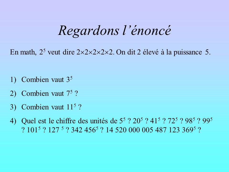 Prouver « le truc » Et là, on est sur que tout nombre qui se termine par 0, si on lélève à la puissance 5, le résultat finira par 0 tout nombre qui se termine par 1, si on lélève à la puissance 5, le résultat finira par 1 Et ainsi de suite…