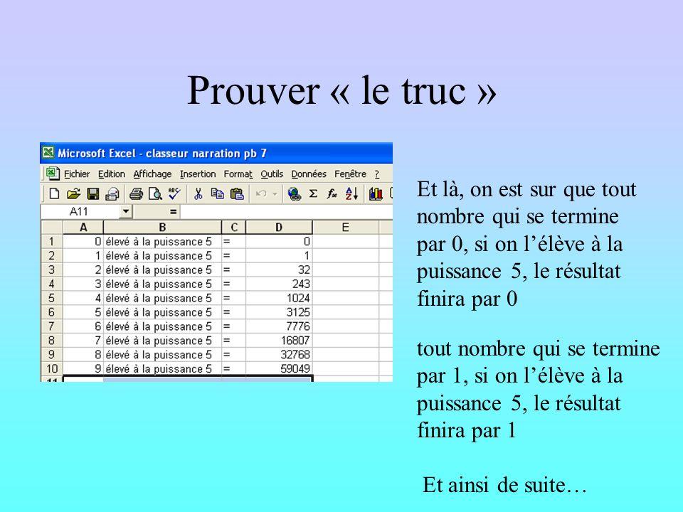 Prouver « le truc » Donc pour trouver le chiffre des unités de 101 5, il suffit de calculer 1 1 1 1 1 =1 Donc le chiffre des unités de 101 5 est 1. Do