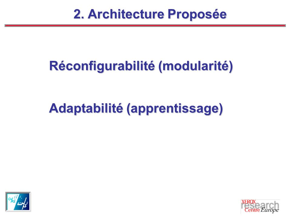 2. Architecture Proposée Réconfigurabilité (modularité) Adaptabilité (apprentissage)