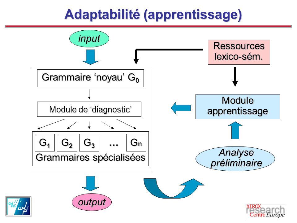 Adaptabilité (apprentissage) Module apprentissage Analyse préliminaire Ressources lexico-sém.