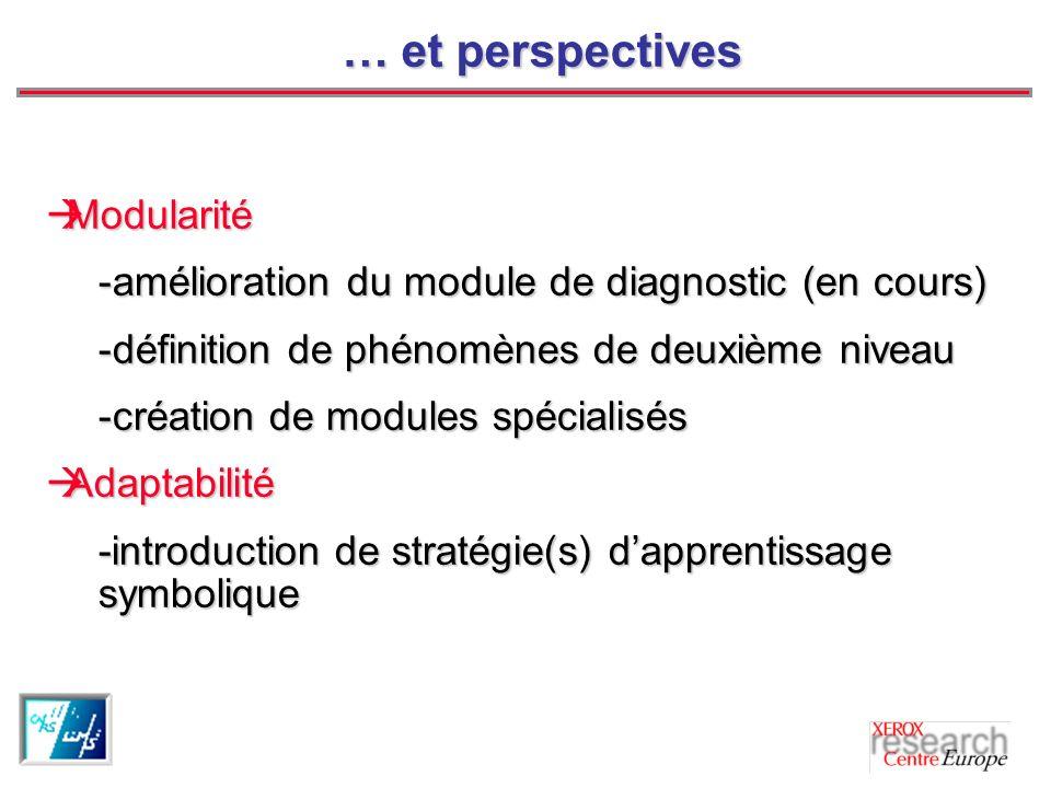 … et perspectives Modularité Modularité -amélioration du module de diagnostic (en cours) -définition de phénomènes de deuxième niveau -création de modules spécialisés Adaptabilité Adaptabilité -introduction de stratégie(s) dapprentissage symbolique