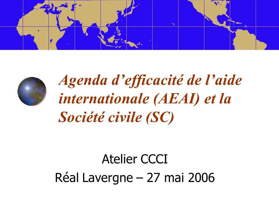 Agenda defficacité de laide internationale (AEAI) et la Société civile (SC) Atelier CCCI Réal Lavergne – 27 mai 2006