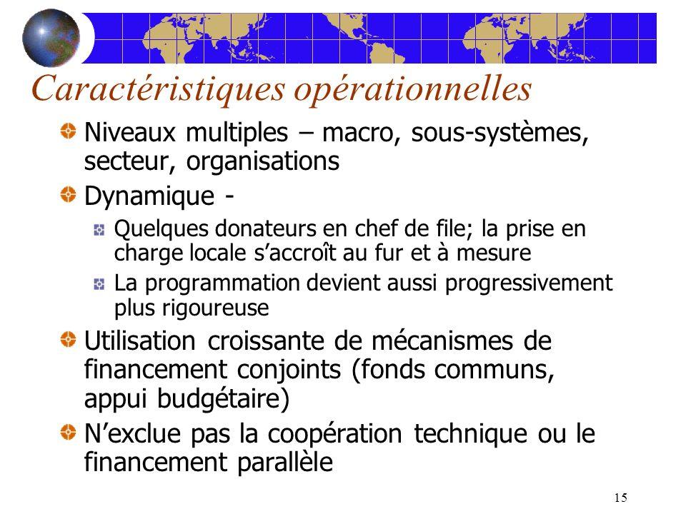 15 Caractéristiques opérationnelles Niveaux multiples – macro, sous-systèmes, secteur, organisations Dynamique - Quelques donateurs en chef de file; l
