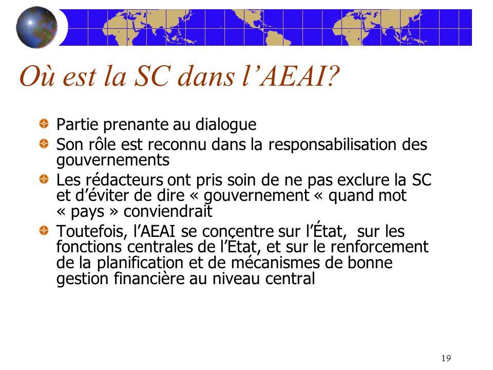 19 Où est la SC dans lAEAI? Partie prenante au dialogue Son rôle est reconnu dans la responsabilisation des gouvernements Les rédacteurs ont pris soin