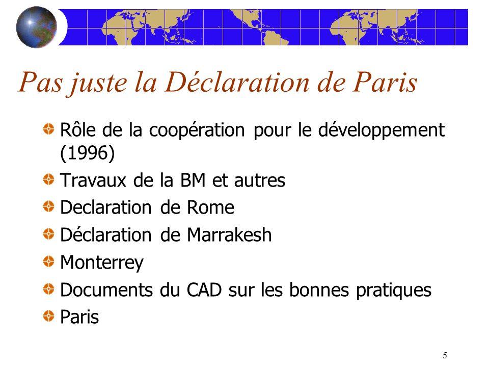 5 Pas juste la Déclaration de Paris Rôle de la coopération pour le développement (1996) Travaux de la BM et autres Declaration de Rome Déclaration de Marrakesh Monterrey Documents du CAD sur les bonnes pratiques Paris