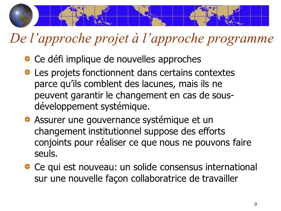 9 De lapproche projet à lapproche programme Ce défi implique de nouvelles approches Les projets fonctionnent dans certains contextes parce quils comblent des lacunes, mais ils ne peuvent garantir le changement en cas de sous- développement systémique.