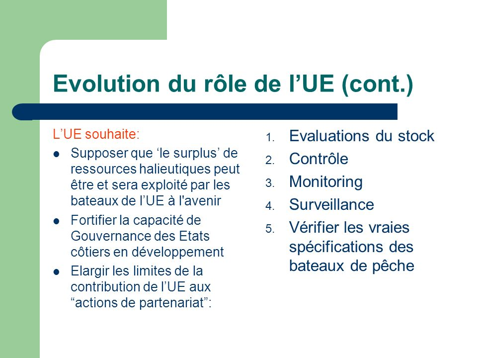 Evolution du rôle de lUE (cont.) LUE souhaite: Supposer que le surplus de ressources halieutiques peut être et sera exploité par les bateaux de lUE à