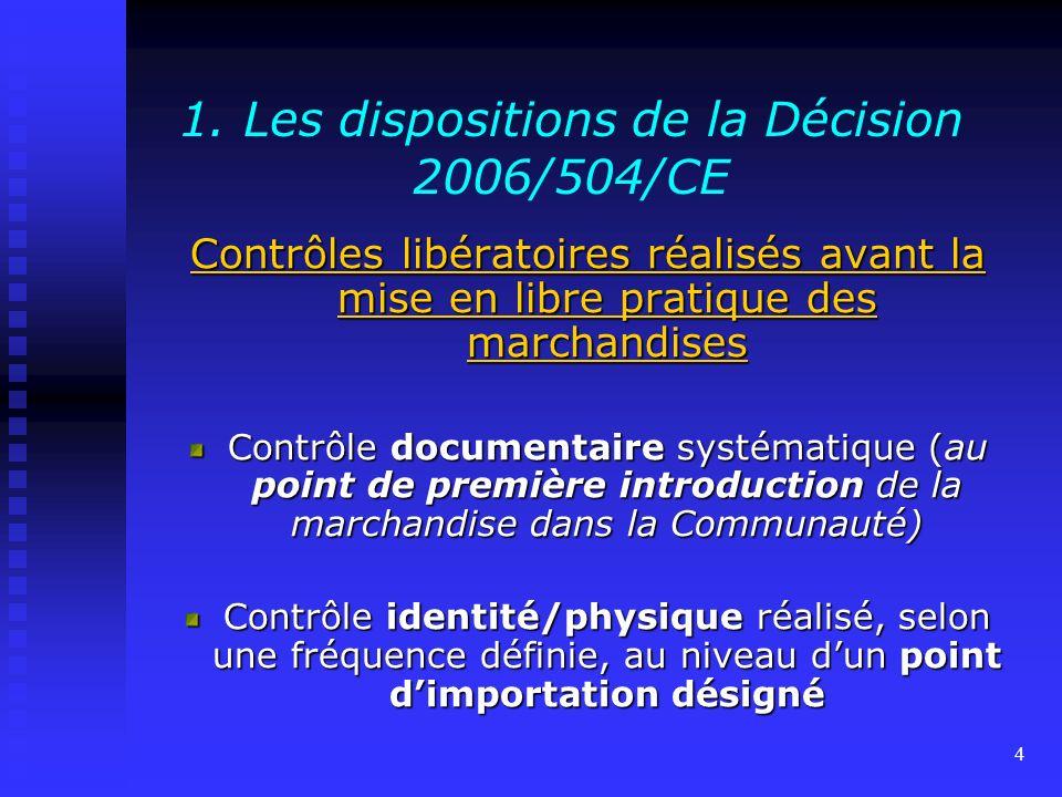 3 1. Les dispositions de la Décision 2006/504/CE relative aux conditions particulières applicables à certaines denrées alimentaires importées de certa