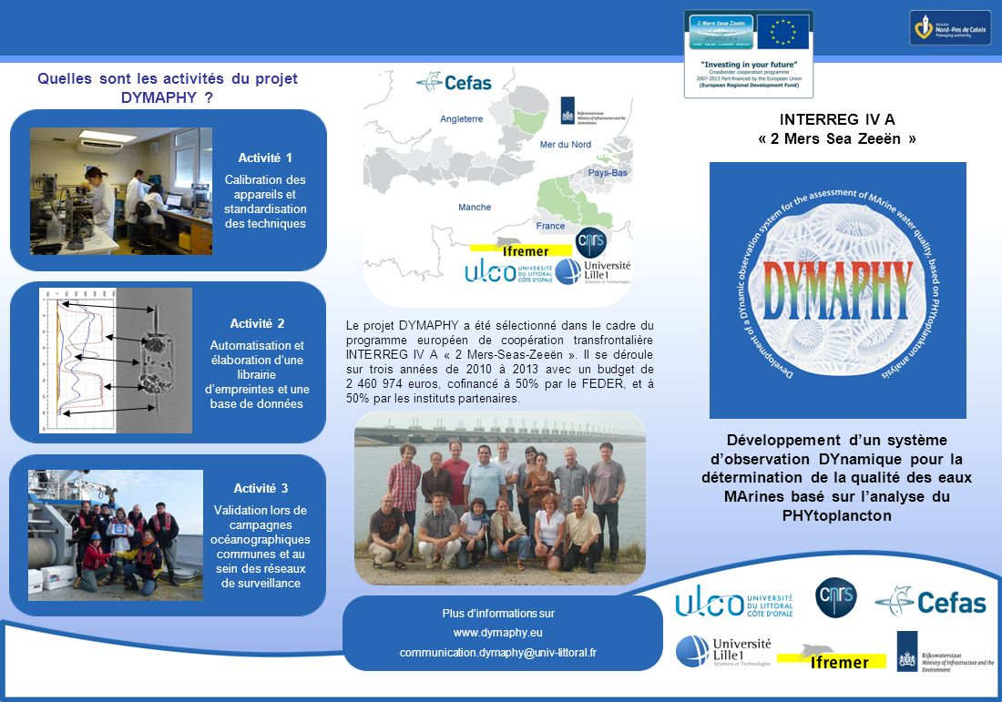 INTERREG IV A « 2 Mers Sea Zeeën » Le projet DYMAPHY a été sélectionné dans le cadre du programme européen de coopération transfrontalière INTERREG IV