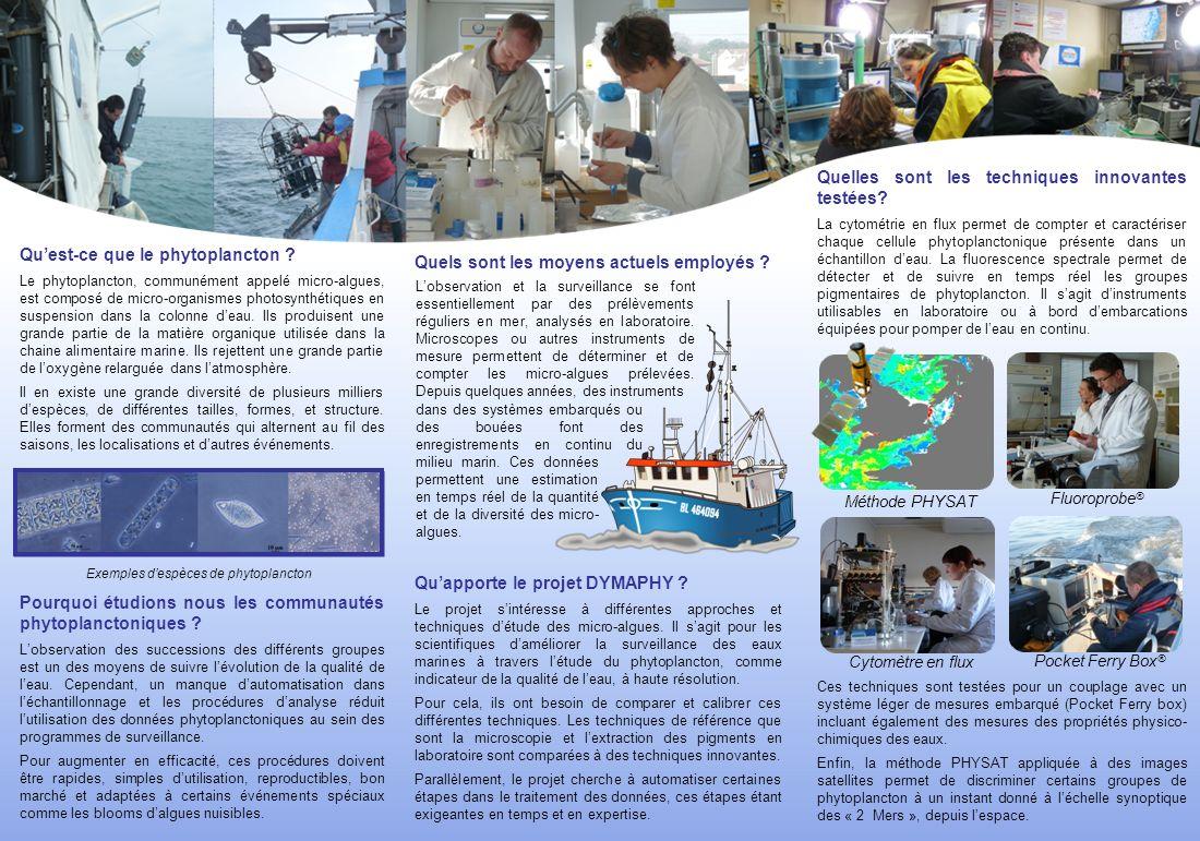 Quapporte le projet DYMAPHY ? Le projet sintéresse à différentes approches et techniques détude des micro-algues. Il sagit pour les scientifiques damé
