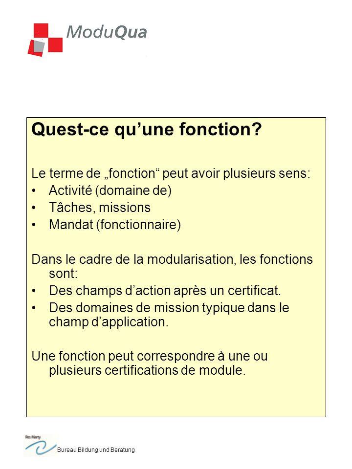 Bureau Bildung und Beratung Analyse des fonctions Quelles tâches sont attribuées à chacune des fonctions.