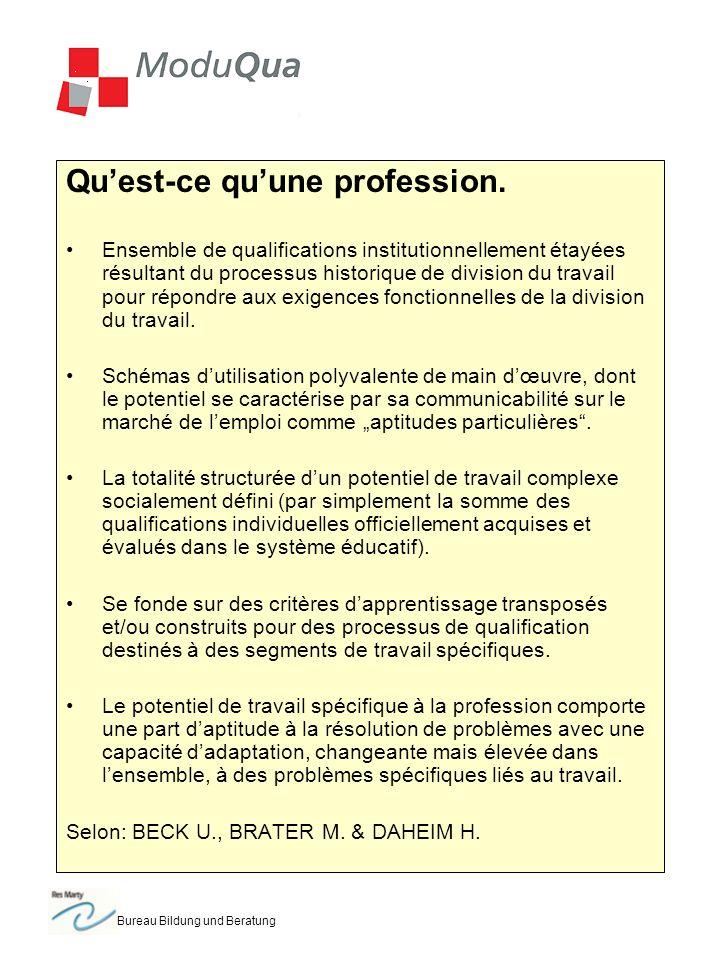 Bureau Bildung und Beratung Quest-ce quune profession. Ensemble de qualifications institutionnellement étayées résultant du processus historique de di