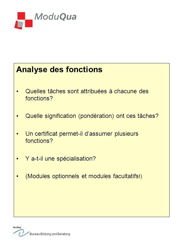 Bureau Bildung und Beratung Analyse des fonctions Quelles tâches sont attribuées à chacune des fonctions? Quelle signification (pondération) ont ces t