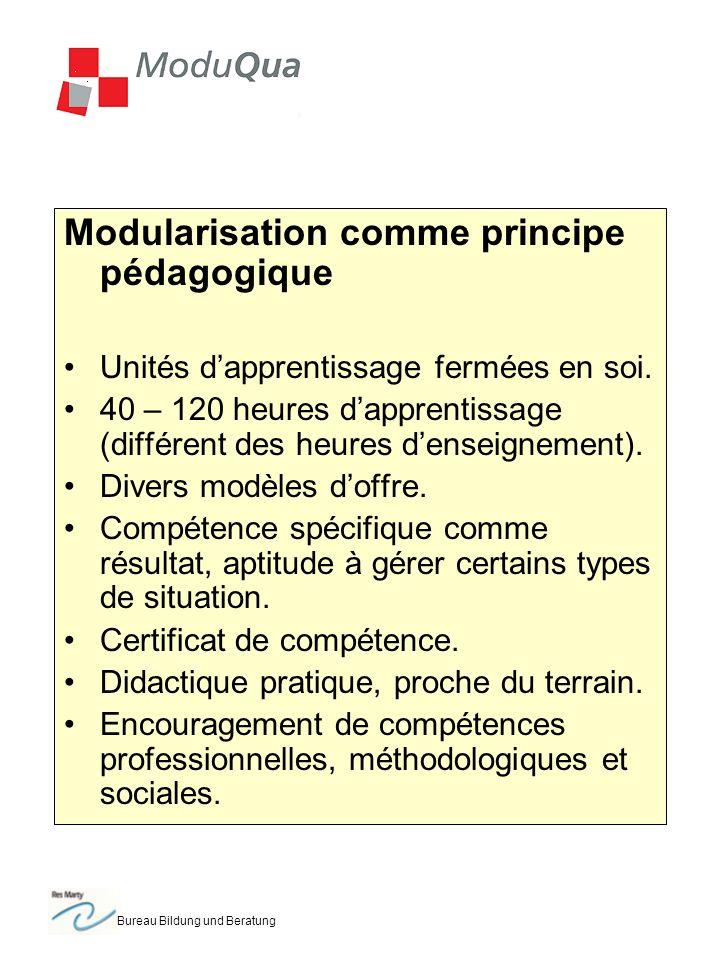 Bureau Bildung und Beratung Modularisation comme principe pédagogique Unités dapprentissage fermées en soi.