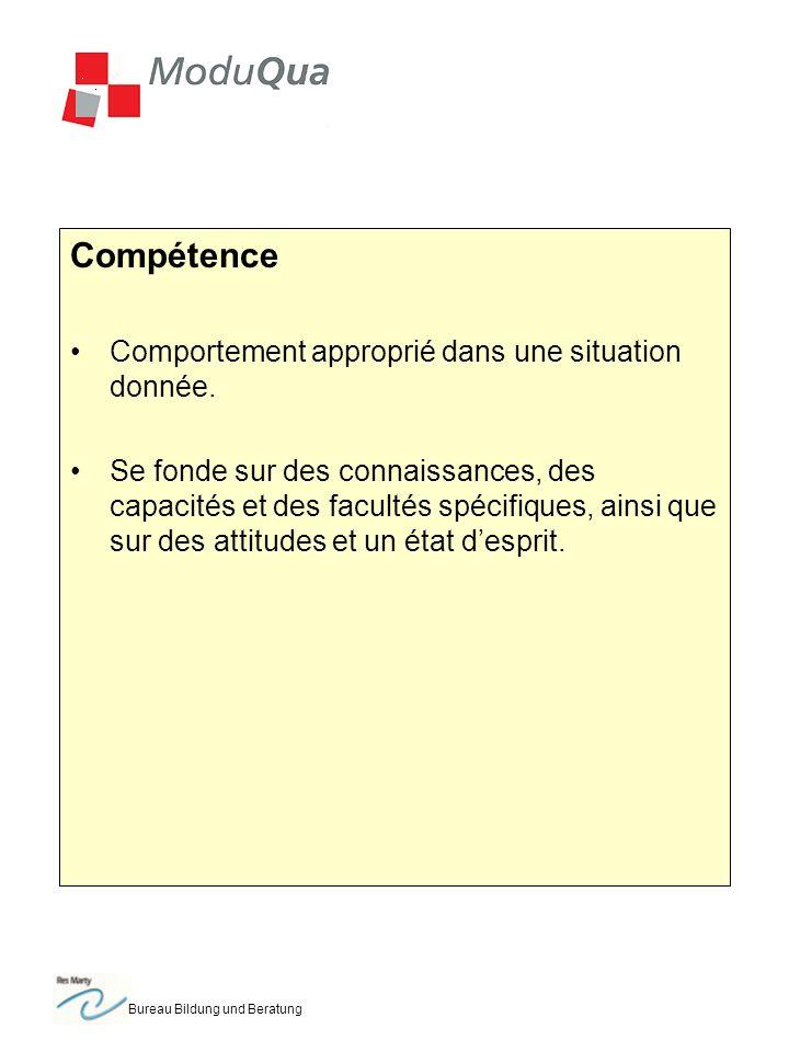 Bureau Bildung und Beratung Compétence Comportement approprié dans une situation donnée. Se fonde sur des connaissances, des capacités et des facultés