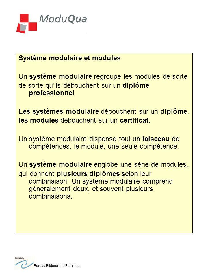 Bureau Bildung und Beratung Système modulaire et modules Un système modulaire regroupe les modules de sorte de sorte quils débouchent sur un diplôme professionnel.