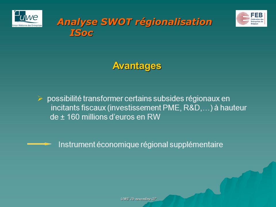 UWE 26 novembre 07 Avantages possibilité transformer certains subsides régionaux en incitants fiscaux (investissement PME, R&D,…) à hauteur de ± 160 m
