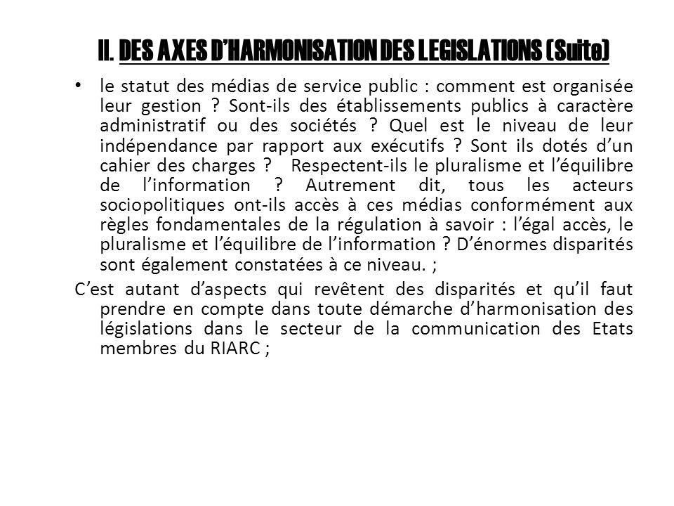 II. DES AXES DHARMONISATION DES LEGISLATIONS (Suite) le statut des médias de service public : comment est organisée leur gestion ? Sont-ils des établi