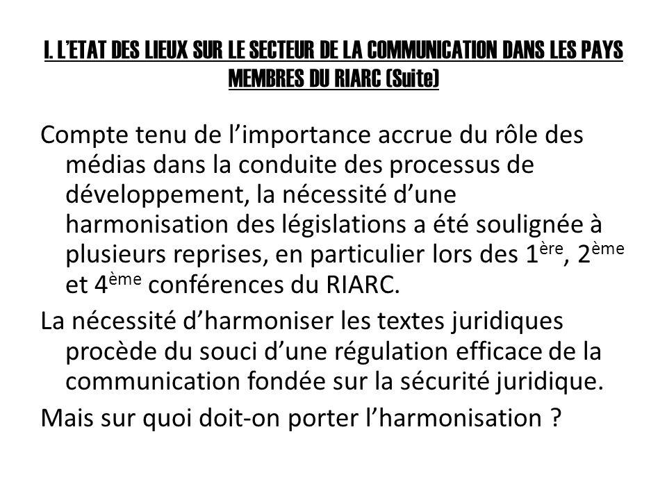 I. LETAT DES LIEUX SUR LE SECTEUR DE LA COMMUNICATION DANS LES PAYS MEMBRES DU RIARC (Suite) Compte tenu de limportance accrue du rôle des médias dans