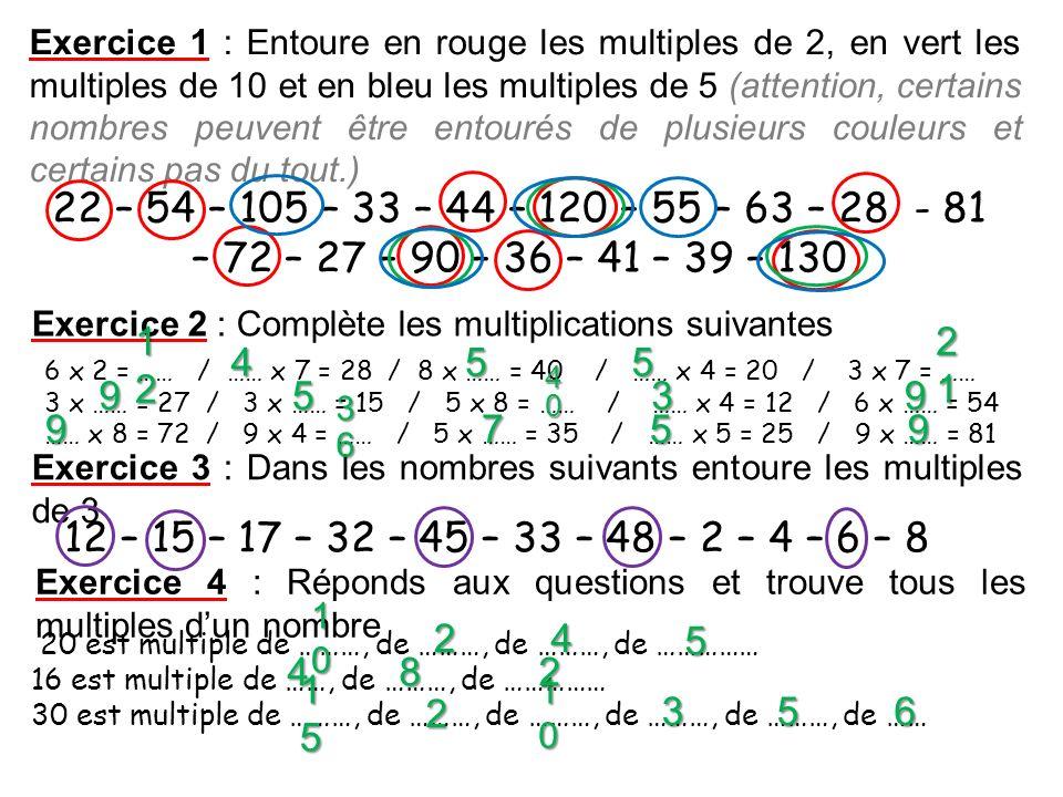 Exercice 1 : Entoure en rouge les multiples de 2, en vert les multiples de 10 et en bleu les multiples de 5 (attention, certains nombres peuvent être
