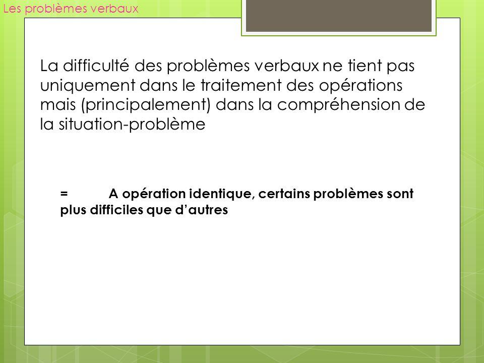 Les problèmes verbaux La difficulté des problèmes verbaux ne tient pas uniquement dans le traitement des opérations mais (principalement) dans la comp