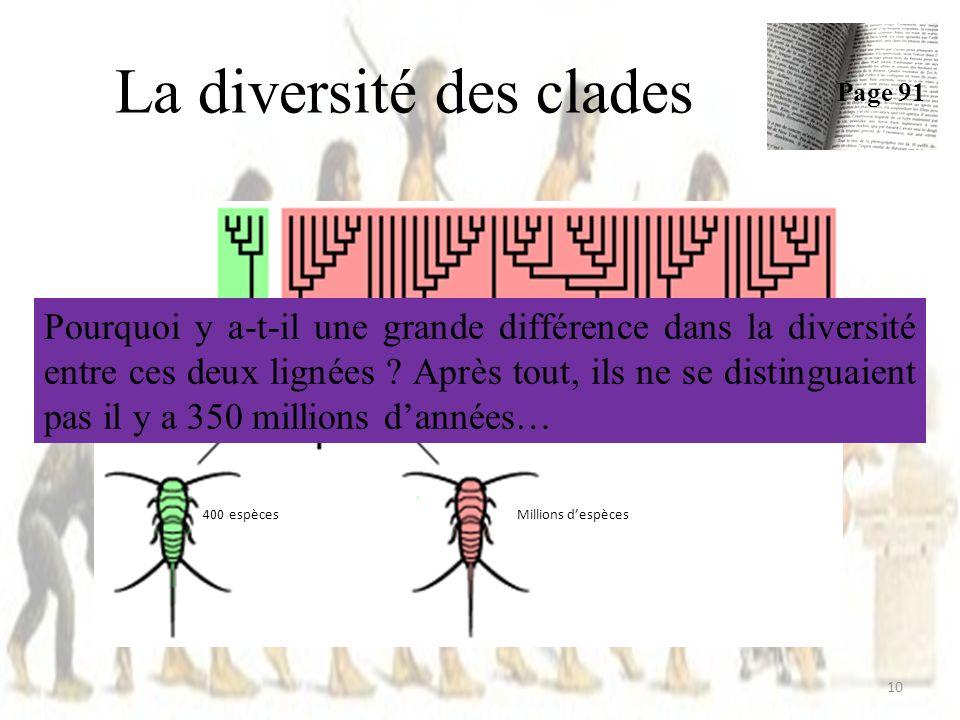La diversité des clades 10 Page 91 400 espècesMillions despèces Pourquoi y a-t-il une grande différence dans la diversité entre ces deux lignées .