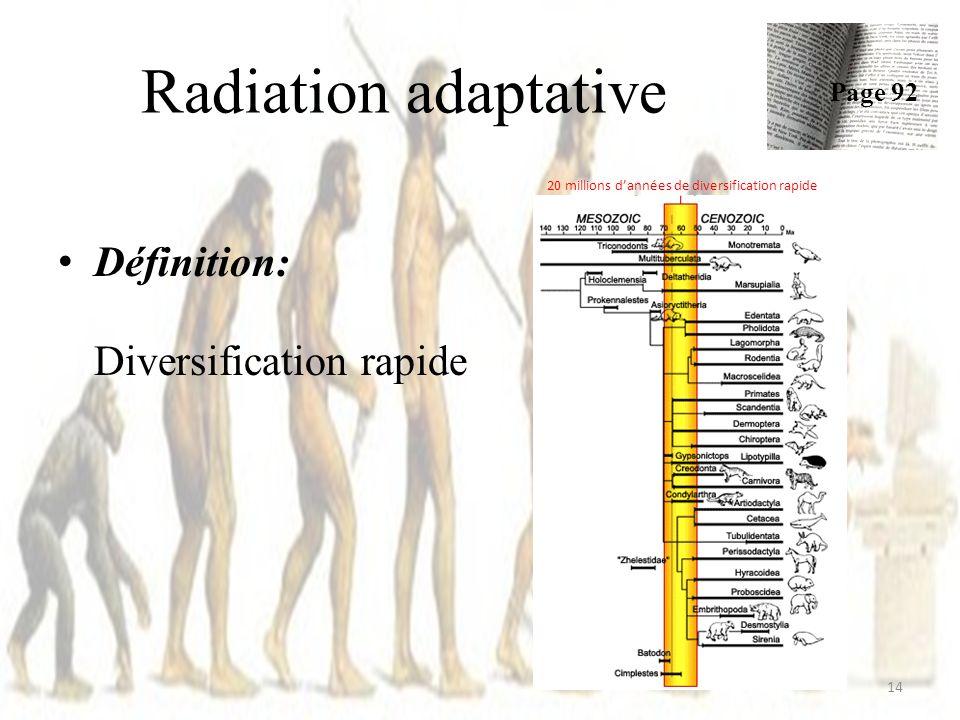 Radiation adaptative Définition: Diversification rapide 14 Page 92 20 millions dannées de diversification rapide