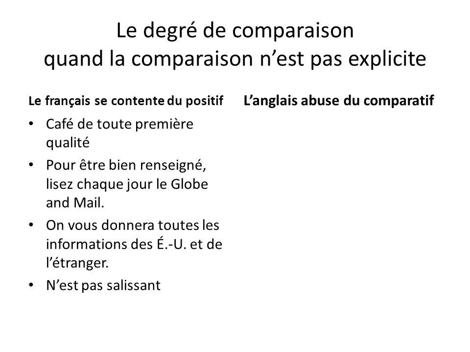Le degré de comparaison quand la comparaison nest pas explicite Le français se contente du positif Café de toute première qualité Pour être bien rense