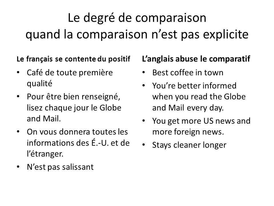 Le degré de comparaison quand la comparaison nest pas explicite Le français se contente du positif Café de toute première qualité Pour être bien renseigné, lisez chaque jour le Globe and Mail.