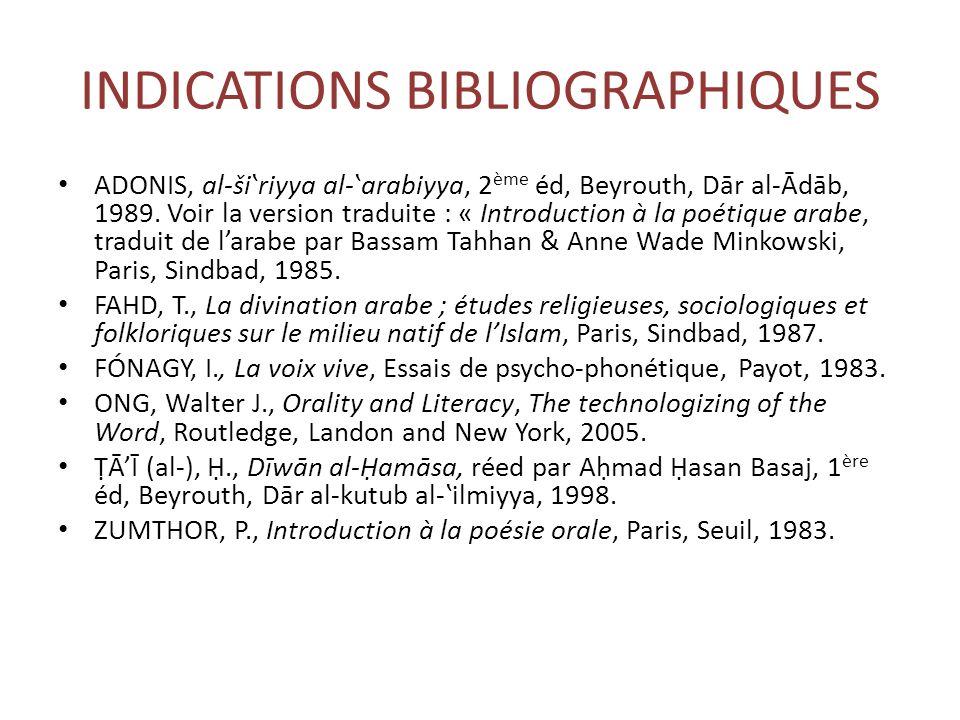 INDICATIONS BIBLIOGRAPHIQUES ADONIS, al-šiʽriyya al-ʽarabiyya, 2 ème éd, Beyrouth, Dār al-Ādāb, 1989.
