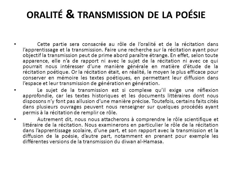 ORALITÉ & TRANSMISSION DE LA POÉSIE Cette partie sera consacrée au rôle de loralité et de la récitation dans lapprentissage et la transmission.
