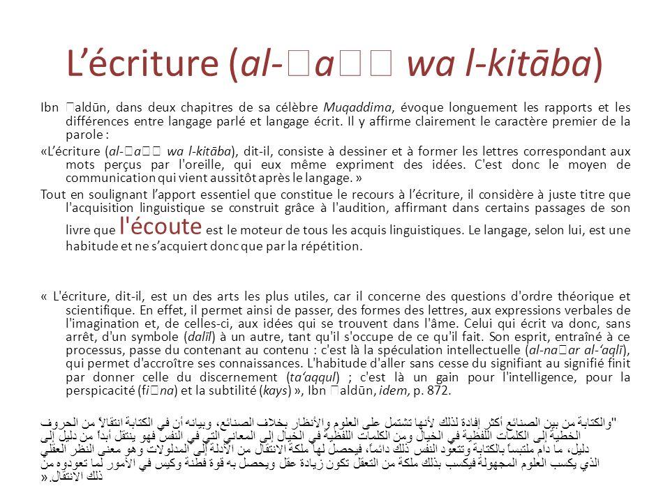 Lécriture (al- a wa l-kitāba) Ibn aldūn, dans deux chapitres de sa célèbre Muqaddima, évoque longuement les rapports et les différences entre langage