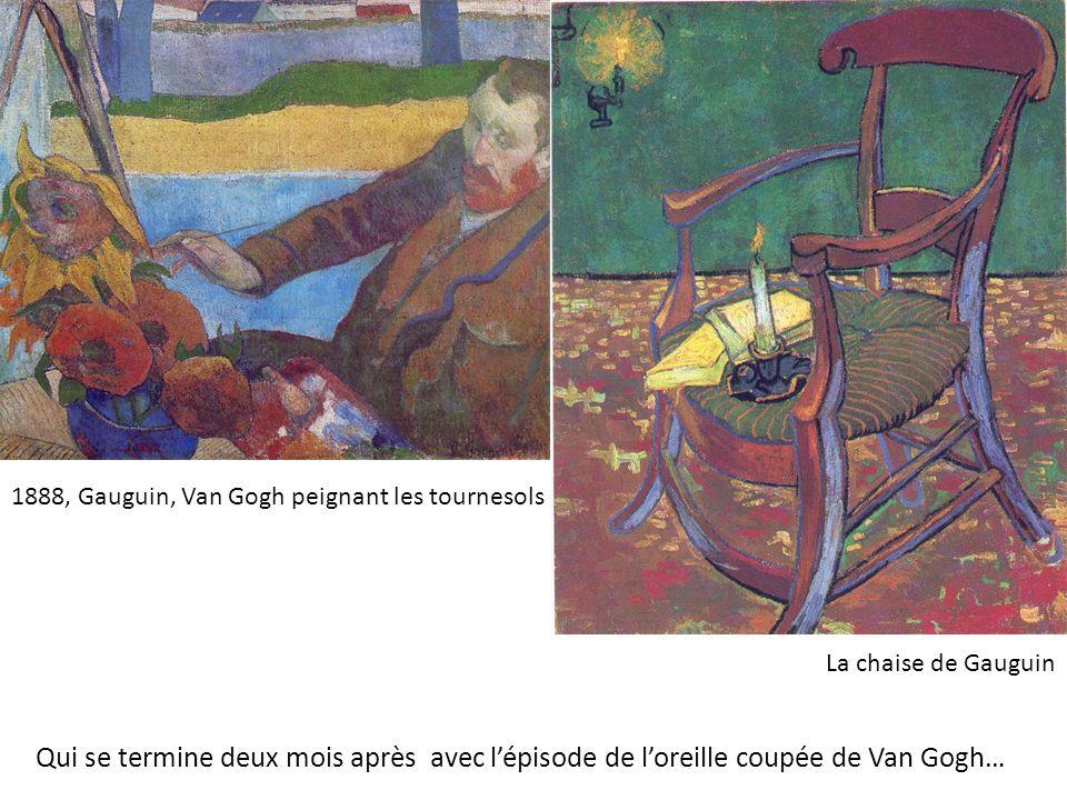 1888, Gauguin, Van Gogh peignant les tournesols La chaise de Gauguin Qui se termine deux mois après avec lépisode de loreille coupée de Van Gogh…