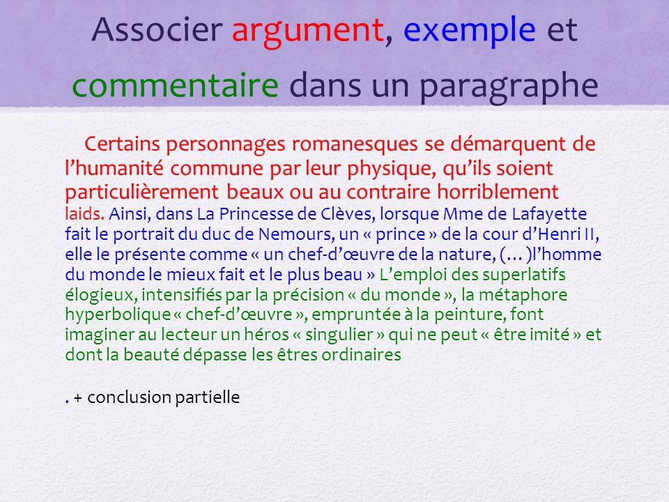 Associer argument, exemple et commentaire dans un paragraphe Certains personnages romanesques se démarquent de lhumanité commune par leur physique, qu