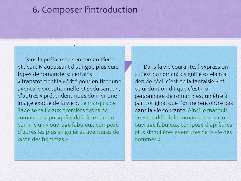 6. Composer lintroduction 1 paragraphe Accroche Énoncé du sujet Analyse et problématique plan Dans la vie courante, lexpression « Cest du roman! » sig