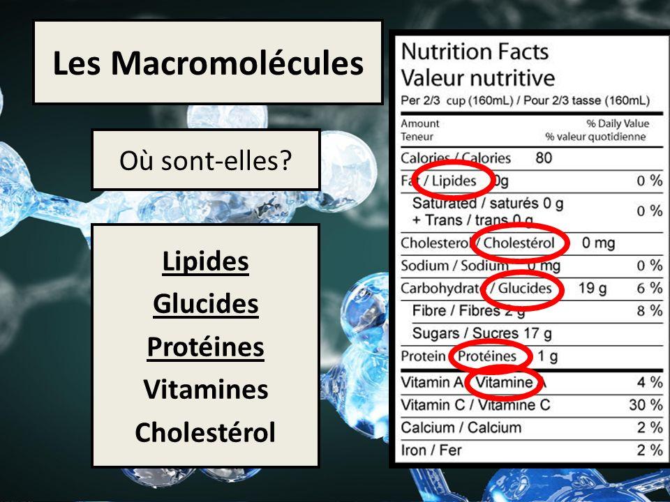 Les Macromolécules Où sont-elles? Lipides Glucides Protéines Vitamines Cholestérol