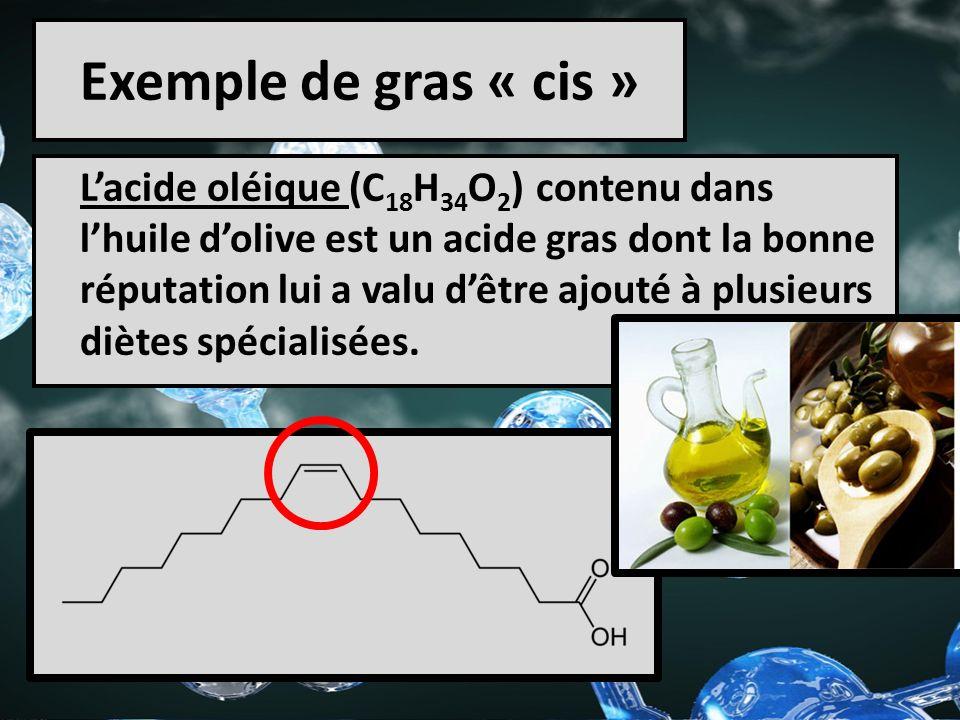 Exemple de gras « cis » Lacide oléique (C 18 H 34 O 2 ) contenu dans lhuile dolive est un acide gras dont la bonne réputation lui a valu dêtre ajouté