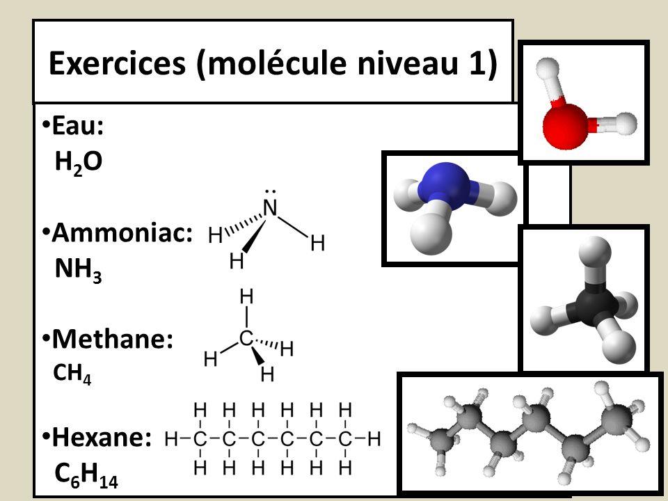 Exercices (molécule niveau 1) Eau: H 2 O Ammoniac: NH 3 Methane: CH 4 Hexane: C 6 H 14
