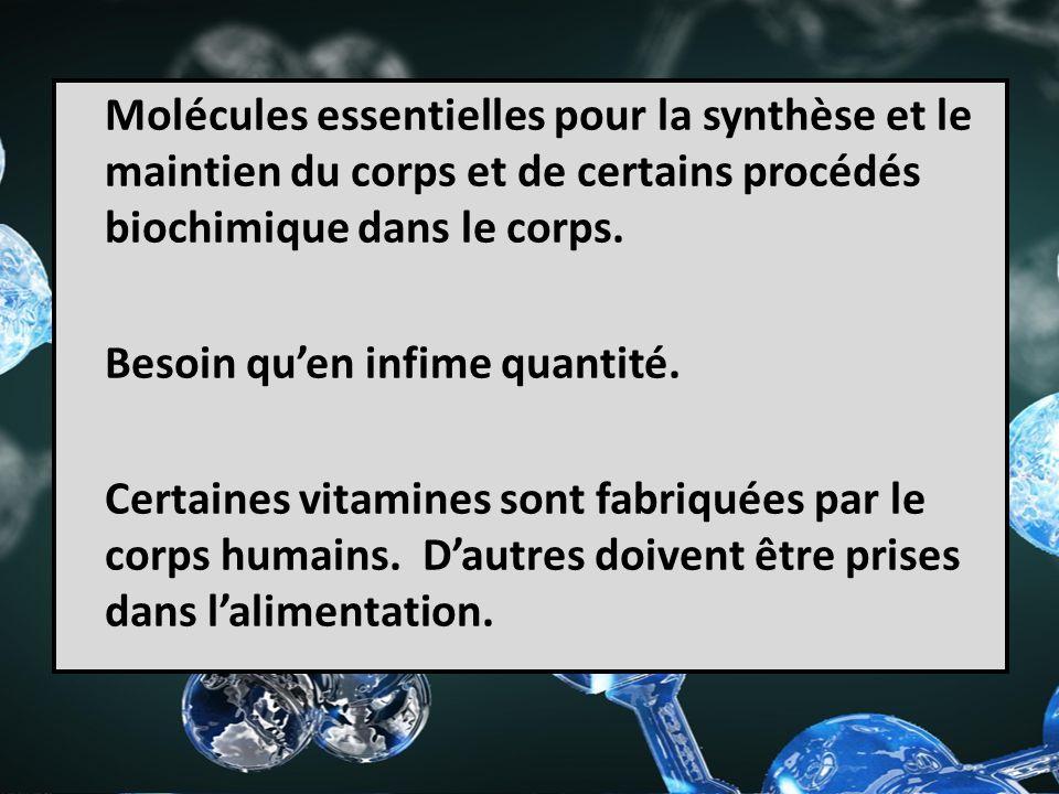 Molécules essentielles pour la synthèse et le maintien du corps et de certains procédés biochimique dans le corps. Besoin quen infime quantité. Certai