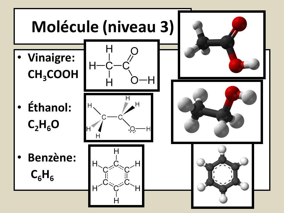 Molécule (niveau 3) Vinaigre: CH 3 COOH Éthanol: C 2 H 6 O Benzène: C 6 H 6