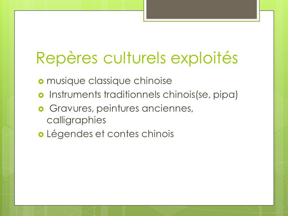 Repères culturels exploités musique classique chinoise Instruments traditionnels chinois(se, pipa) Gravures, peintures anciennes, calligraphies Légend