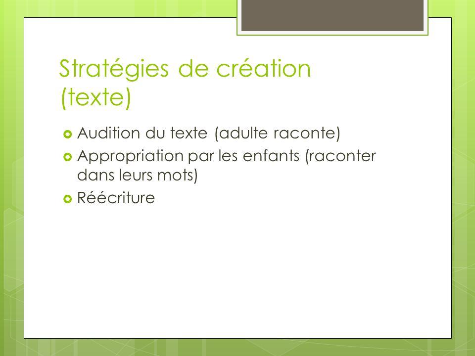 Stratégies de création (texte) Audition du texte (adulte raconte) Appropriation par les enfants (raconter dans leurs mots) Réécriture