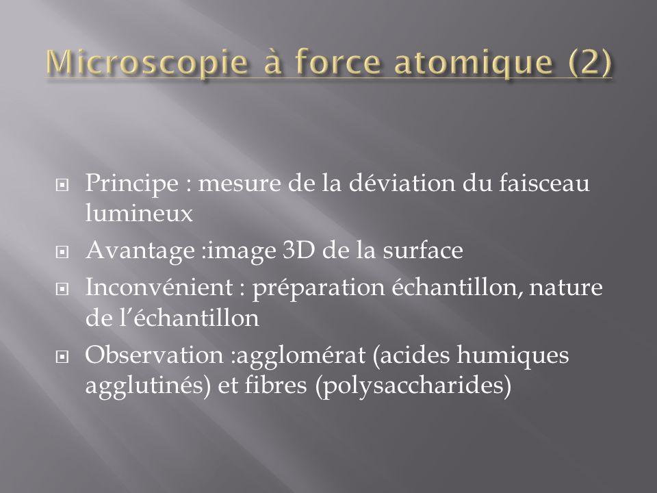 Principe : mesure de la déviation du faisceau lumineux Avantage :image 3D de la surface Inconvénient : préparation échantillon, nature de léchantillon